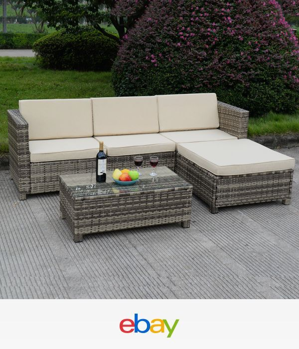 5 PC Outdoor Patio Rattan Furniture Set Sectional Cushioned ...