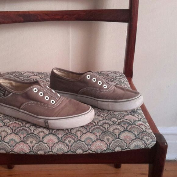 Brown tennis shoes Vans-style tennis shoes. Light brown with white soles and white stitching. Los of life left. Levi's Shoes Athletic Shoes