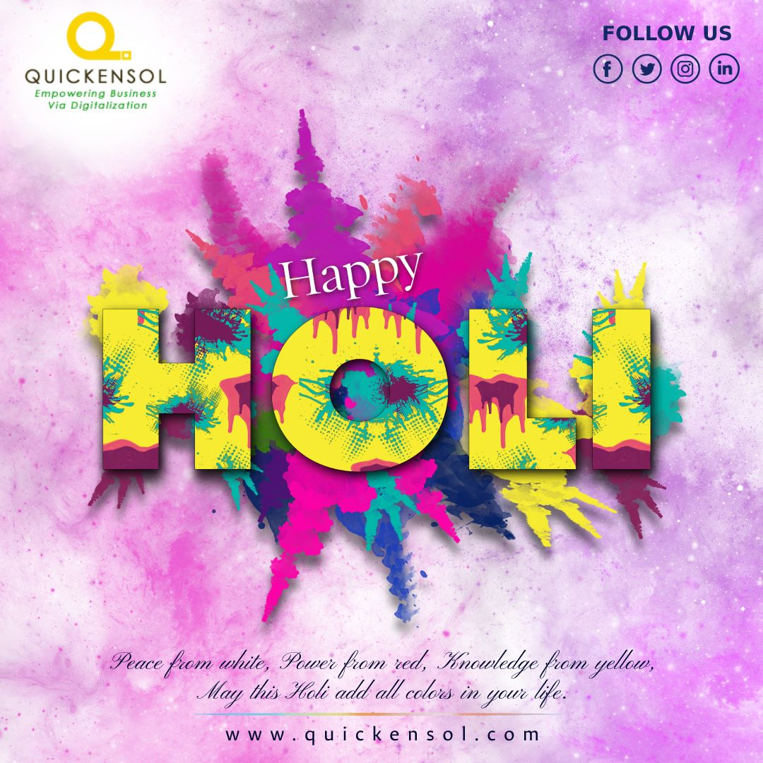Wishing you and your family a very bright,colourful and joyful holi With love and best wishes from Quickensol team.  #quickensol #quickensolteam #holi #happyholi #india #festival #holifestival #colors #colours #color #holifestivalofcolours #holihai