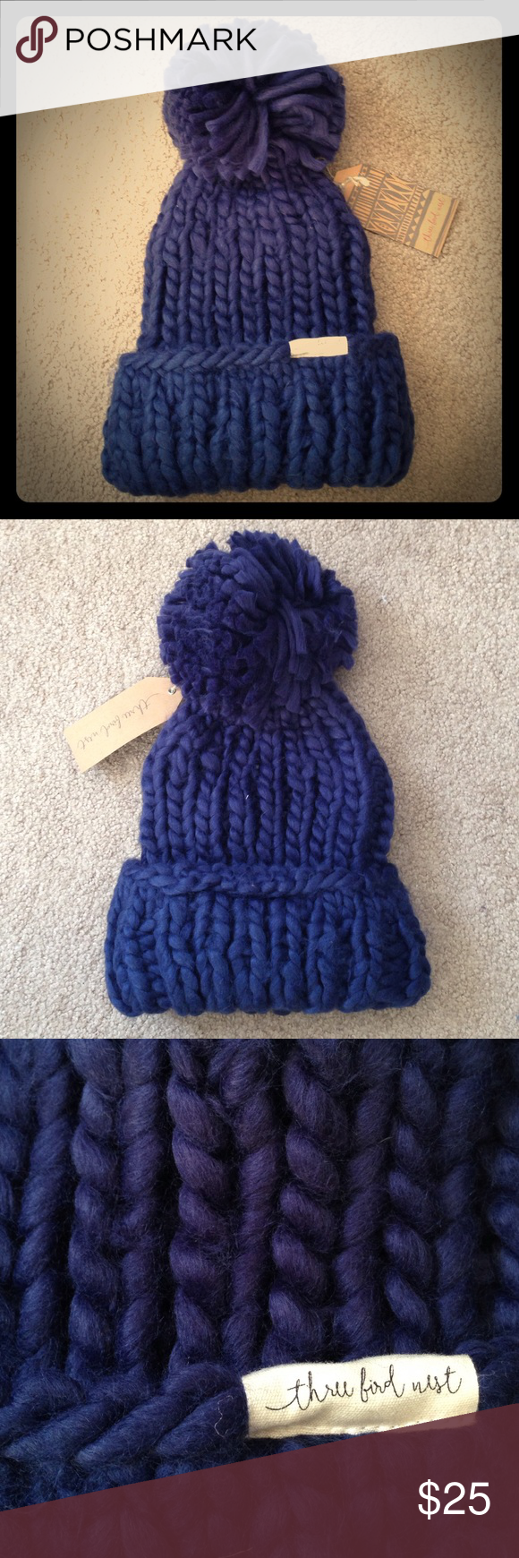 Chunky Knit Pom Pom Beanie Brand new from Three Bird Nest. Adorable beanie with a thick, chunky knit that is super soft and warm. Slouchy fit. You could adjust where the bottom folds up if you want it to be more or less slouchy. Large pom pom on top. In a versatile navy color. Three Bird Nest Accessories Hats