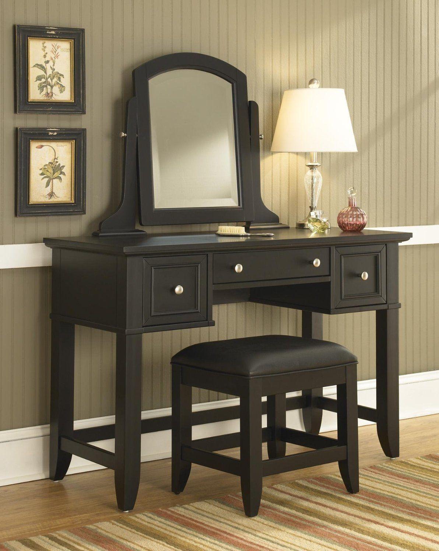 Vanity Table And Bench Set Bedroom Furniture Black Mirror ...