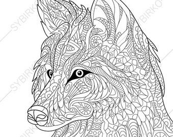 Rhino Rhinoceros Adult Coloring Page. by ...