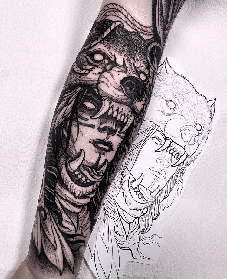 Wolf Headdress Tattoo: Did This Wolf Headdress Last Week! Thanks A Lot Darren! I