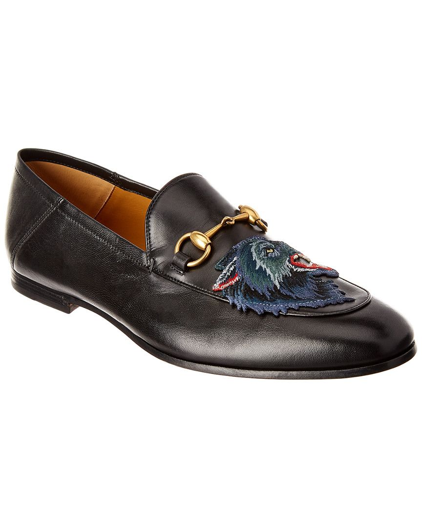 2fa32a911d7 GUCCI GUCCI BRIXTON ANGRY WOLF APPLIQUE LEATHER LOAFER.  gucci  shoes