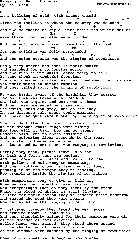 Phil Ochs Song Ringing Of Revolution By Phil Ochs Lyrics And