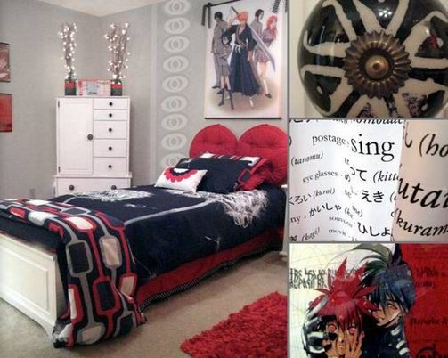 Black Red And White Boy S Bedroom Design Idea With Anese Samurai Anime Cartoon Theme