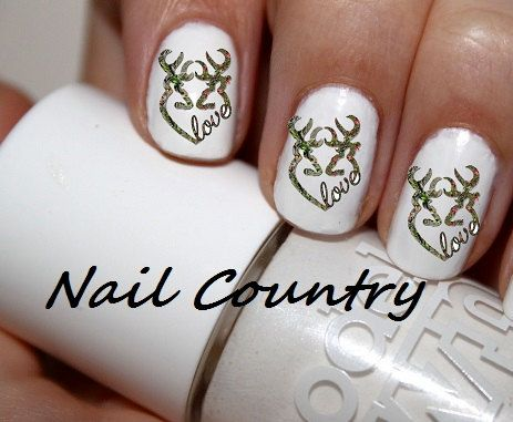 50pc Camo Love Heart Country Deer Nail Decals Nail Art