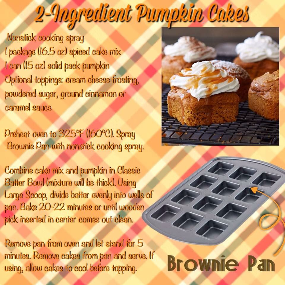 2 Ingredient Pumpkin Cakes In The Pampered Chef Brownie Pan With