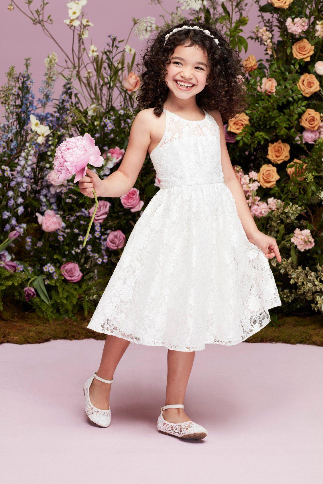 Illusion Lace Tie-Back Halter Flower Girl Dress | Flower ...
