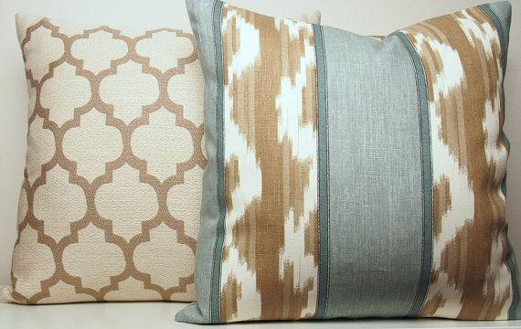Light Aqua Blue Decorative Pillow Cover Light Brown Tan
