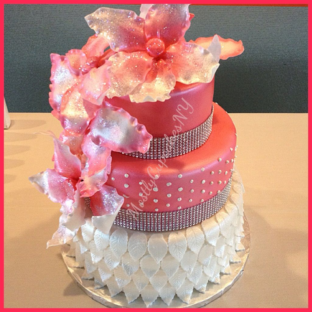 Elegant Pink And Pearl White Birthday Cake. Red Velvet With Cream Cheese Filling. Sugar Flowers
