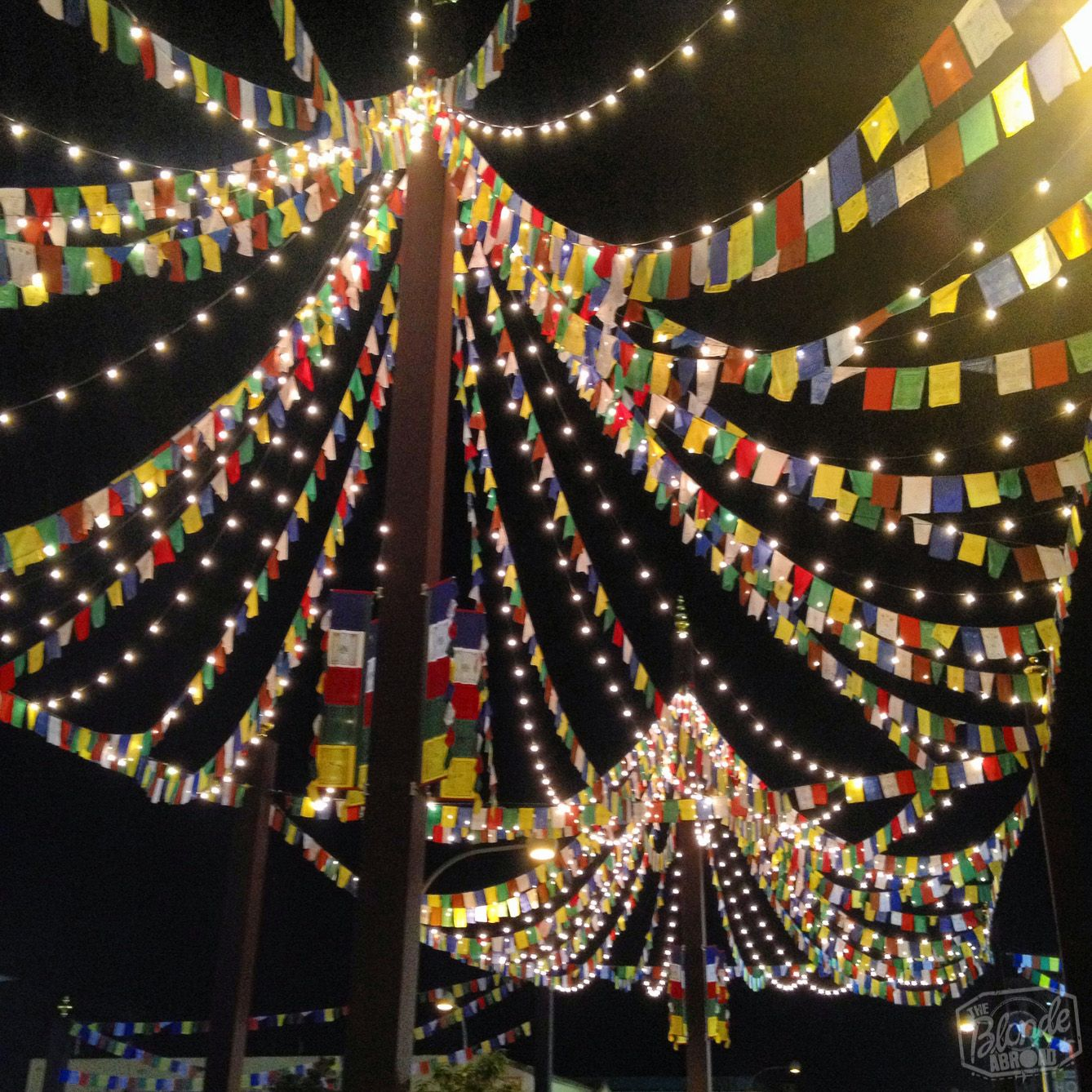 A beautiful entrance to the festival- pretty lights and prayer flags!