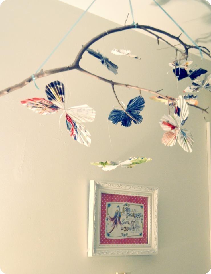 diy butterfly mobile diy pinterest deco creche suspension et guirlandes. Black Bedroom Furniture Sets. Home Design Ideas