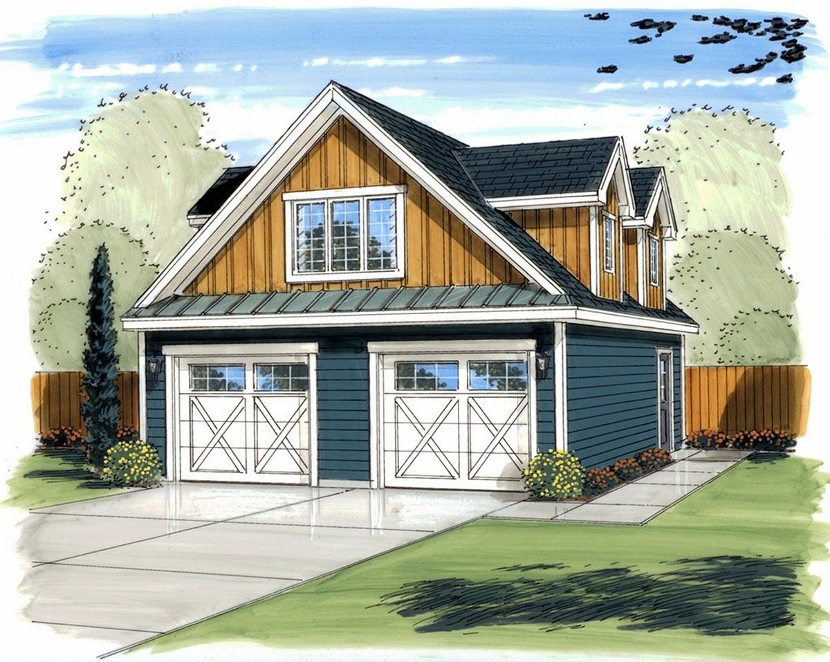Plan 62587DJ 2 Car Garage Plan with Shop and Loft in 2020