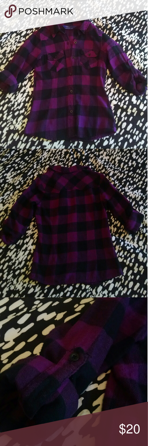 Purple and Black Buffalo Check Plaid Flannel Shirt This purple and black buffalo check plaid flannel shirt has roll tab sleeves. It is has only been worn and laundered twice and is looking for a good home! The perfect addition to your fall wardrobe. Miley Cyrus Max Azria Tops Button Down Shirts
