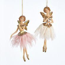 Kurt Adler 6in Ballerina Fairy Ornament, 2 Assorted #TD1556