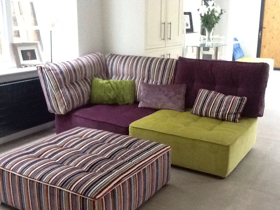 Corner, armless and large footstool modules