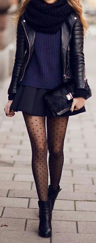 I like patterned tights.  But I would NEVER wear a skirt this short.
