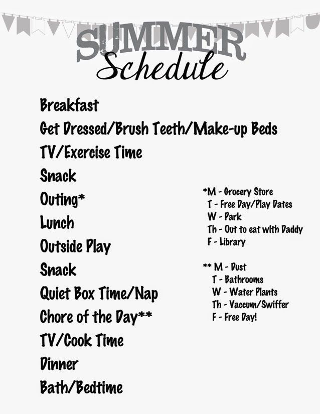 A sample little kid summer schedule for ideas on what might work - work schedule