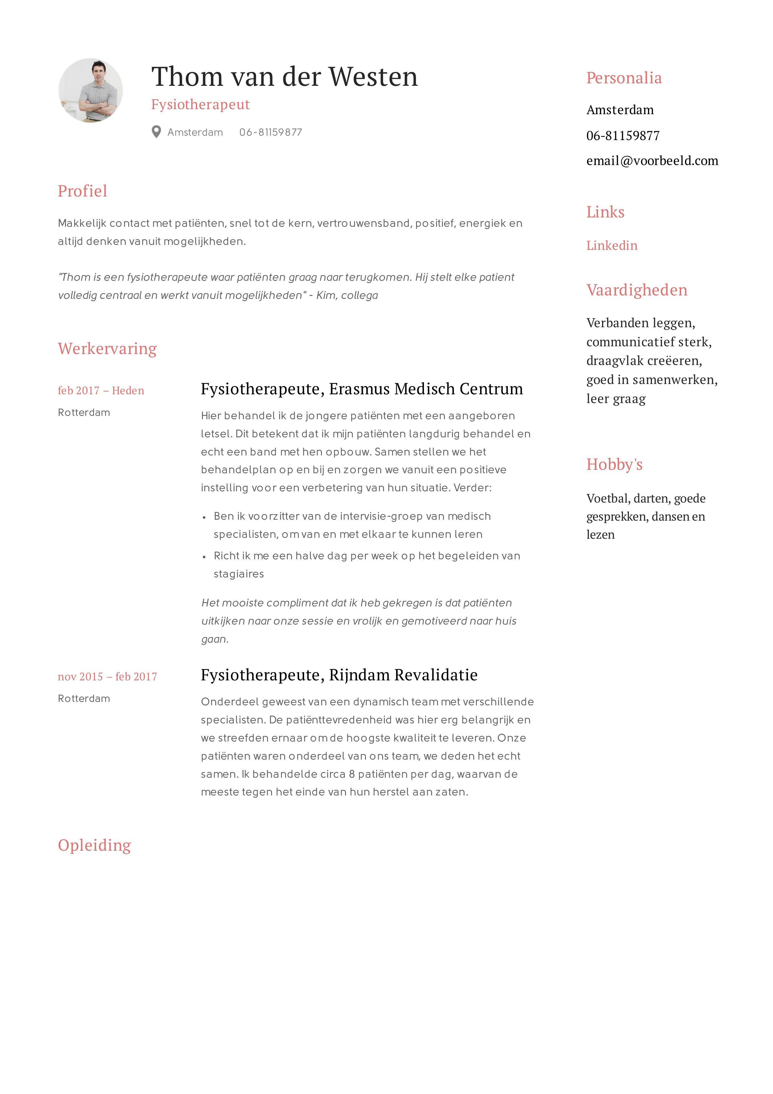 CV Voorbeeld creatief met rood Creatief cv, Creatief