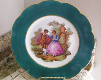 Victorian France Limoges Fragonard Colonial Courting Couple Green Decorative Plate & Victorian France Limoges Fragonard Colonial Courting Couple Green ...
