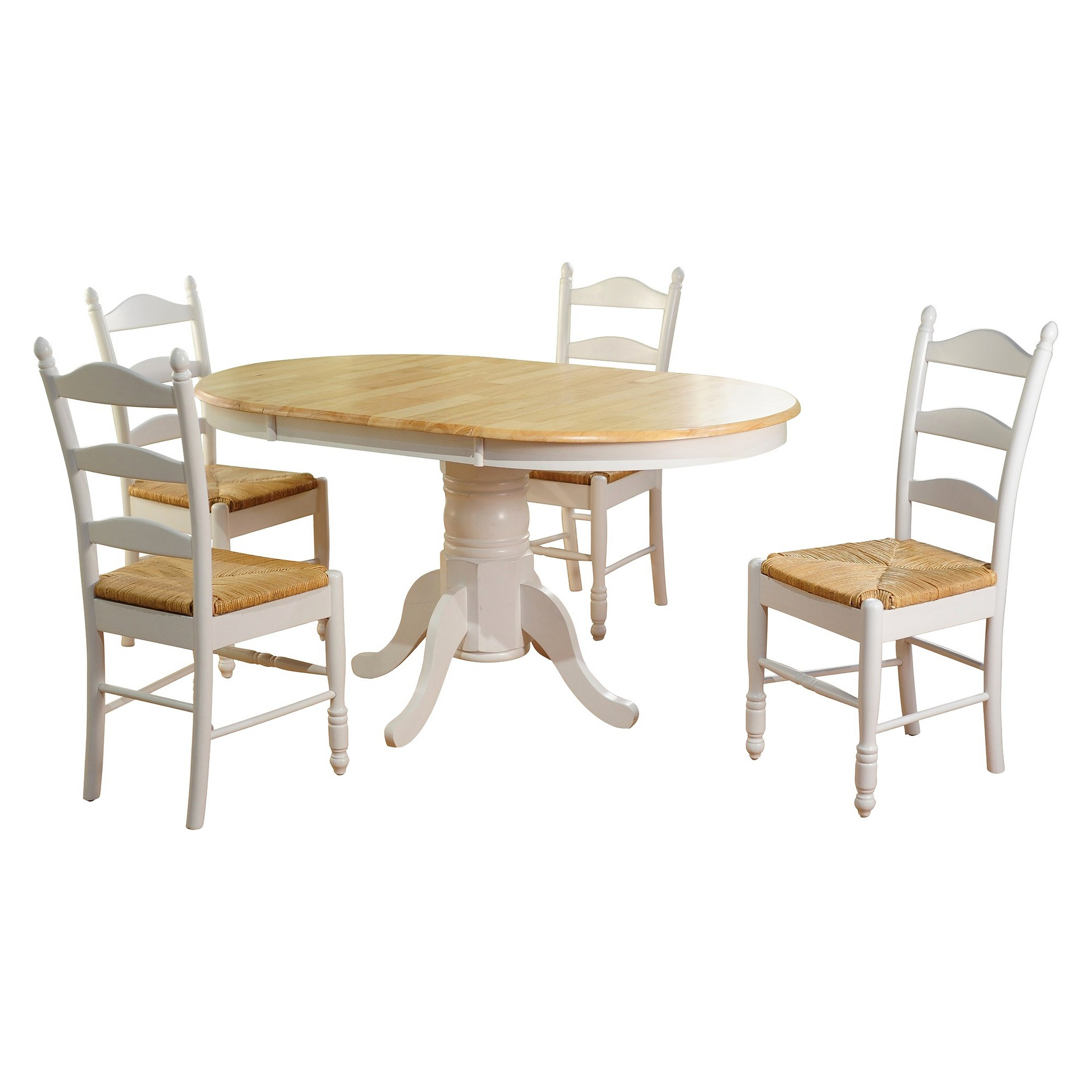 piece farmhouse ladder back dining table set woodwhite tms