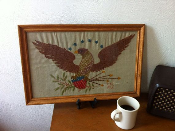 Vintage American Eagle Embroidery Sampler  by JordansUpcycle, $20.00