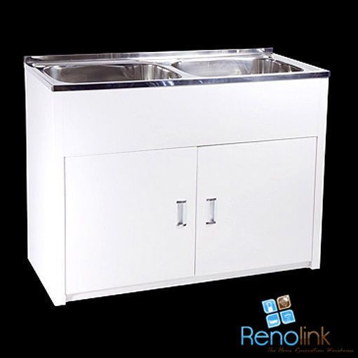 Details About 1160 X 500mm 90l Laundry Tub Cabinet Double Bowl