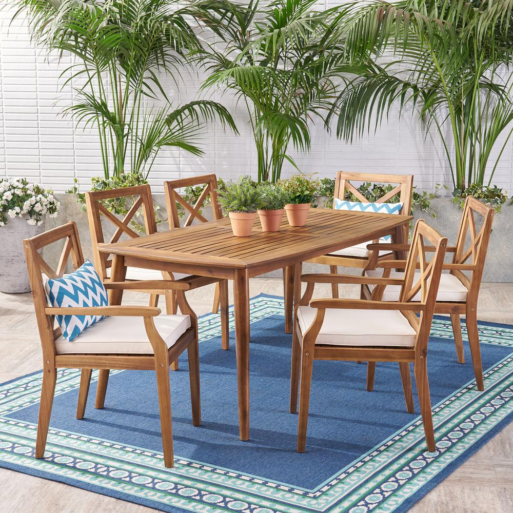 Noble House Llano Teak Brown 7 Piece Wood Outdoor Dining Set With Cream Cushions 53471 The Home Depot In 2020 Patio Dining Set Outdoor Dining Set Round Dining Set