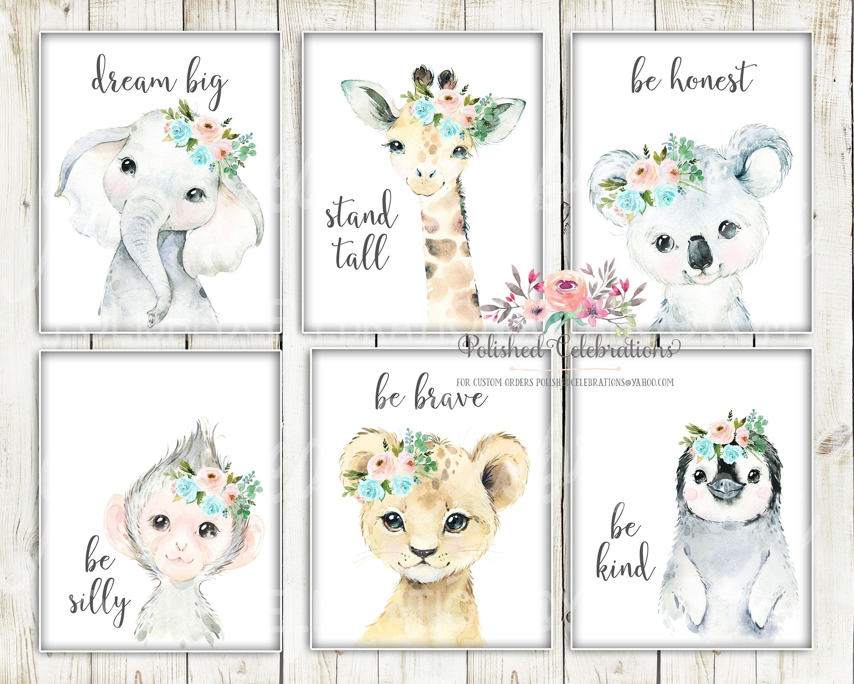 Blush Turquoise Safari Animals / Printable Girl Room Décor ...