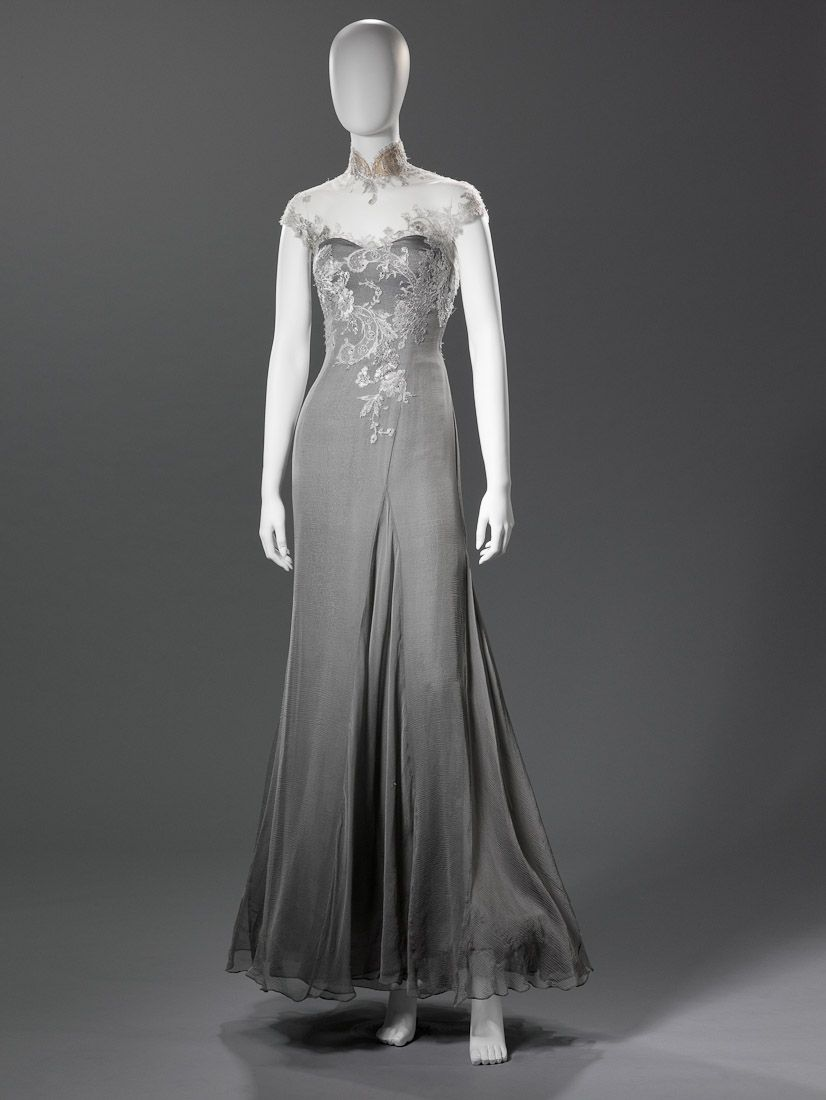 Barney Cheng | Our Collections | Cheongsam | Grey and silver lace qipao