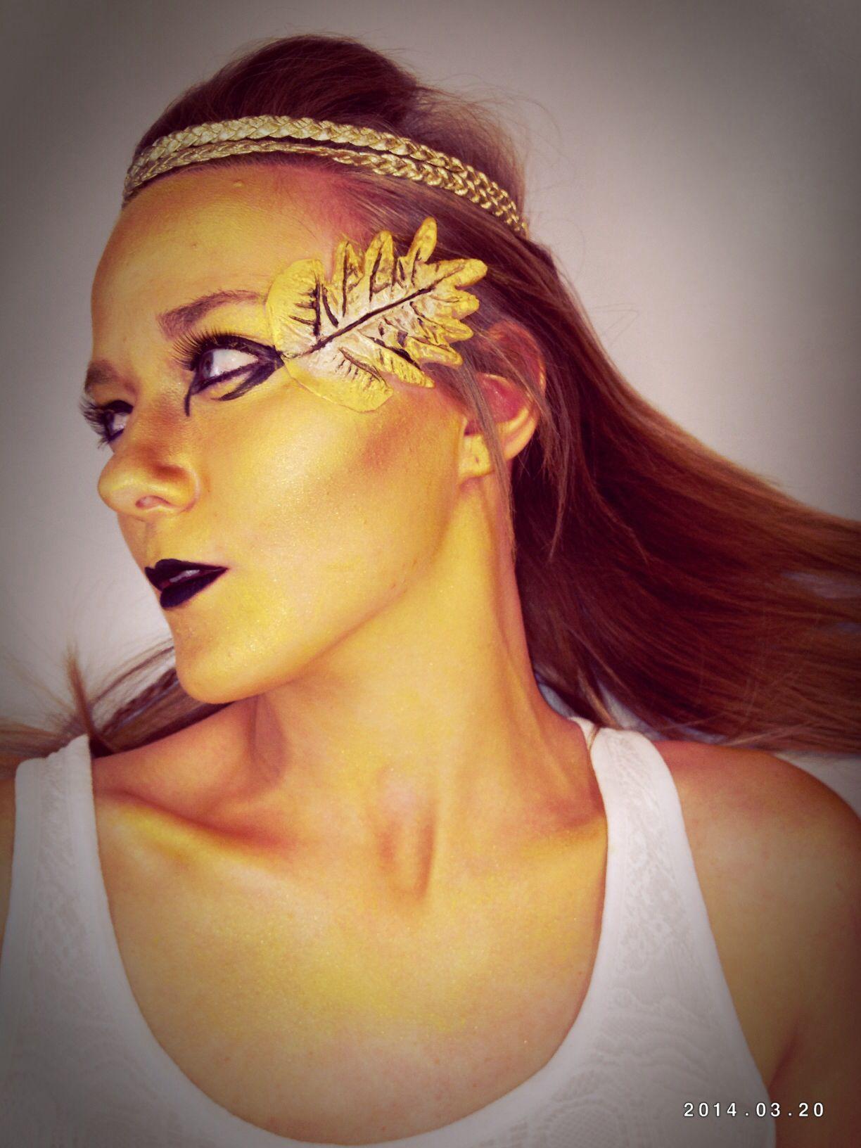 Gelatine prosthetic makeup, Greek golden statue, MUA Chloe Palser, model @Jess Robin MUA