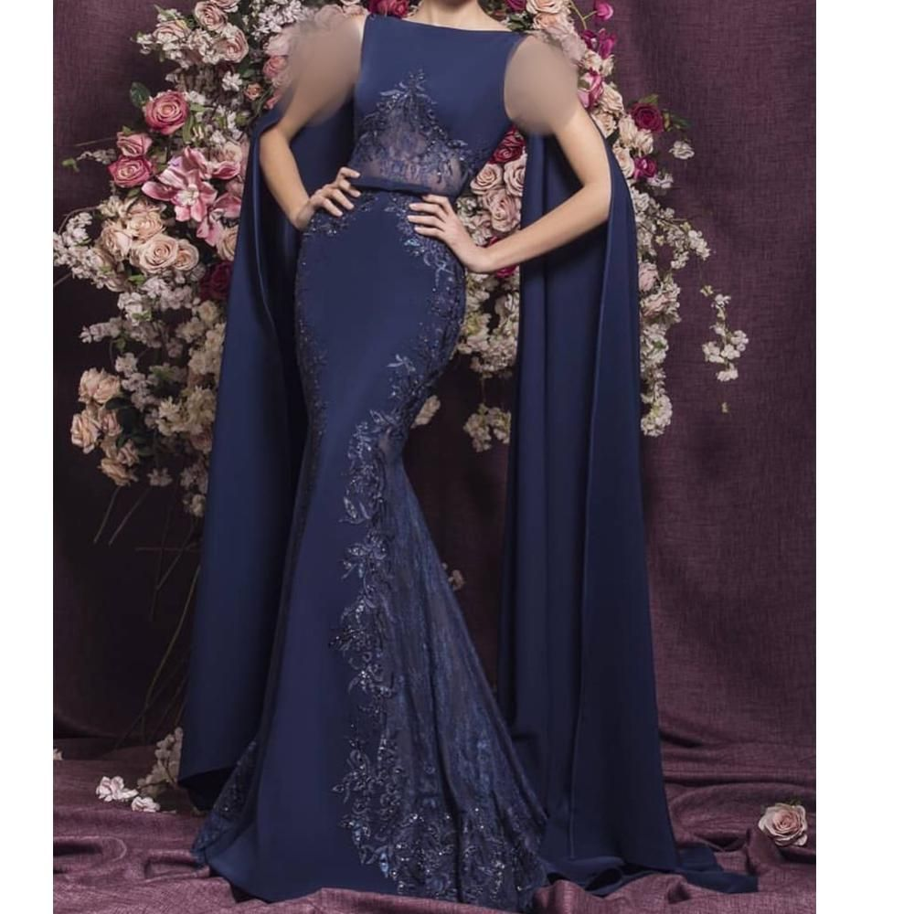 Ball Gown Long Sleeve Beaded Crystal Applique Watteau: Navy Blue Prom Dresses Long Sleeve 2020 Lace Appliques