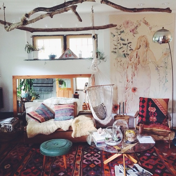 Southwestern Rugs, Fur, Hung Branches, Rustic Boho Living Room