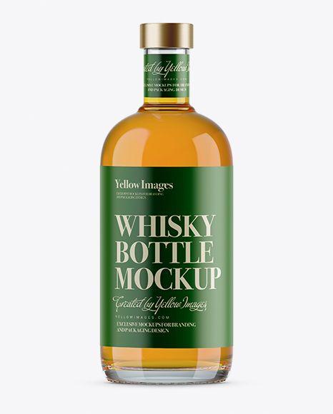 700ml Clear Glass Whiskey Bottle Mockup In Bottle Mockups On Yellow Images Object Mockups Bottle Mockup Mockup Free Psd Whiskey Bottle