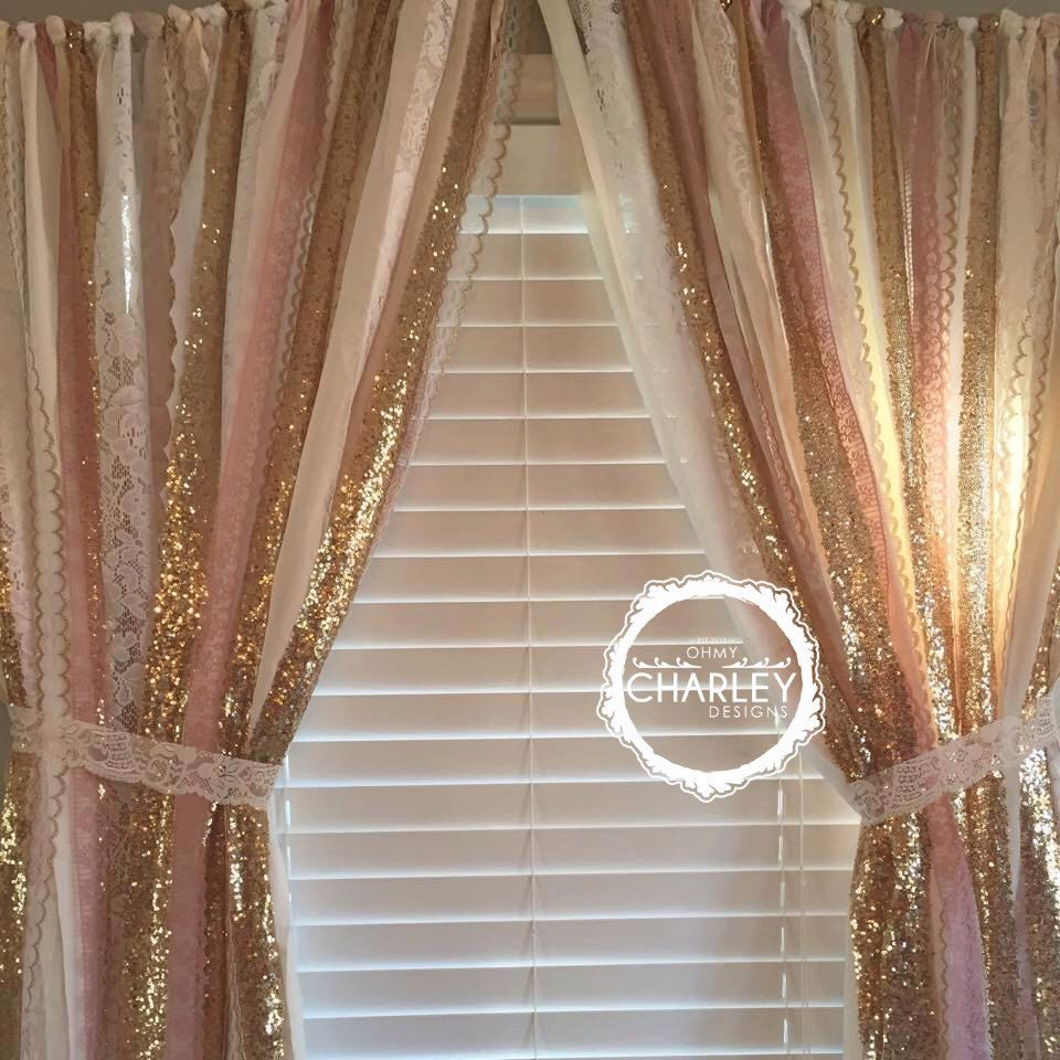 Pink u gold sparkle sequin garland curtain with lace nursery decor