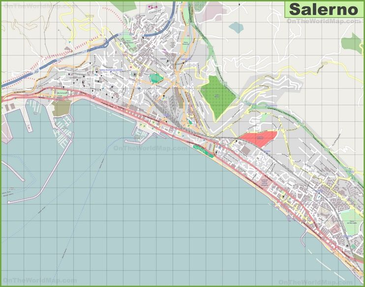 Large detailed map of Salerno Maps Pinterest Italy and City