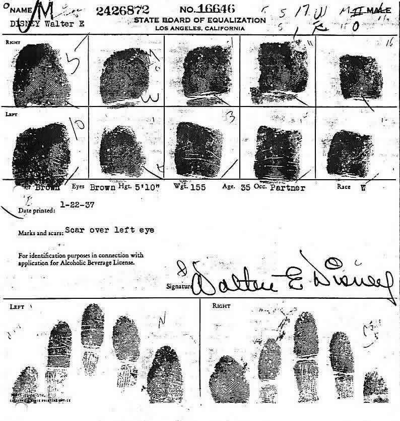 Walt Disney's fingerprints when applying for liquor