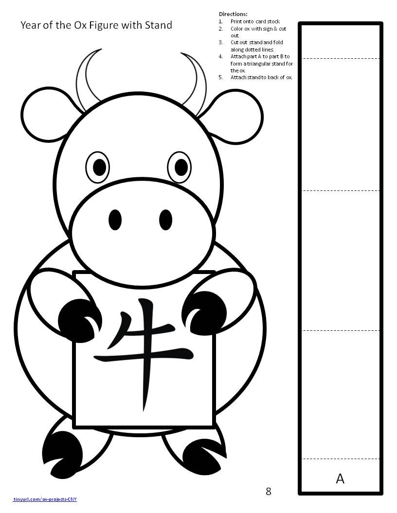 Printable Year Of The Ox Standing Figure Chinese New Year Crafts For Kids Chinese New Year Crafts Chinese Crafts