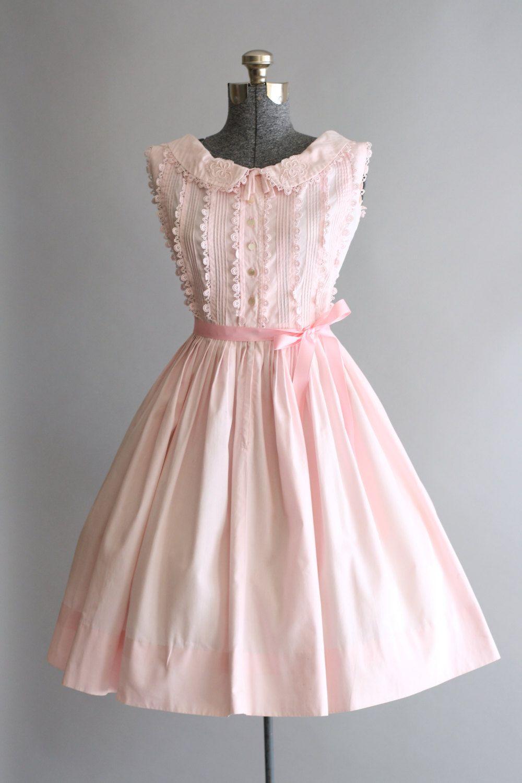 Vintage s dress s cotton dress light pink sun dress w