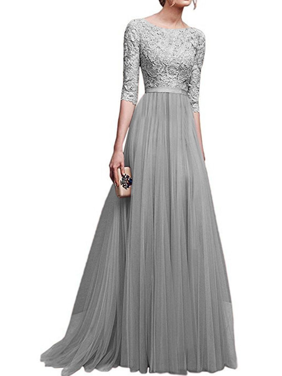 Lace Upper Long Evening Dress With 1 2 Sleeves Lace White Dress Maxi Gown Dress Evening Dresses
