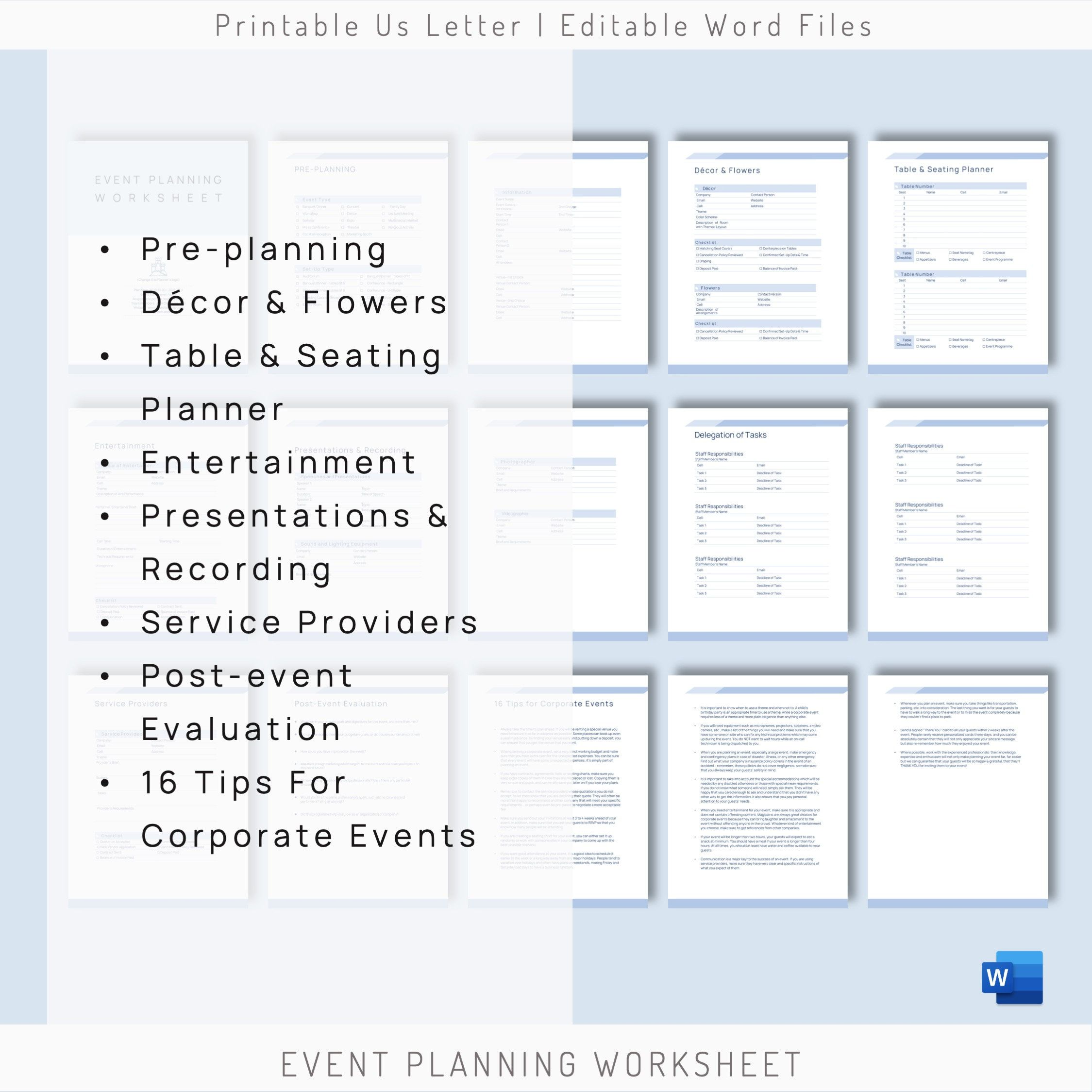 Editable Event Planning Worksheet Event Organizer Event Plan Etsy Event Planning Worksheet Event Planning Event Checklist