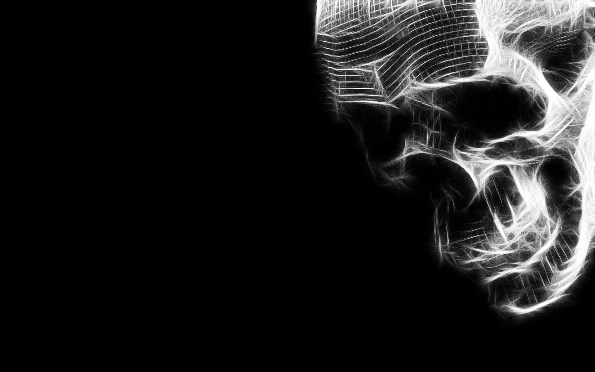 Black And White Abstract Skulls Black And Green Skull Fantasi Tengkorak