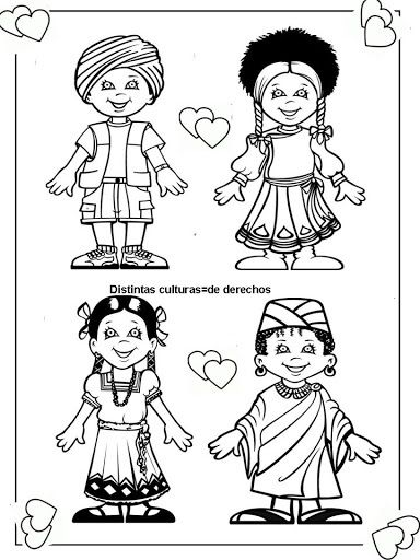 Pinto Dibujos: cute coloring page of children around the