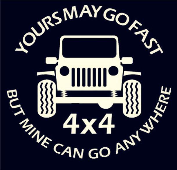 Go Anywhere Vinyl Decal Funny Sticker fits Jeep cj yj tj wrangler winch