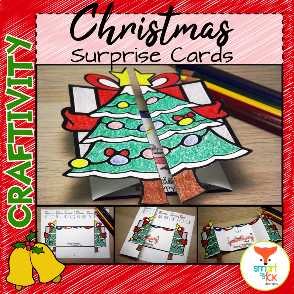 Christmas Tree And Presents Surprise Cards