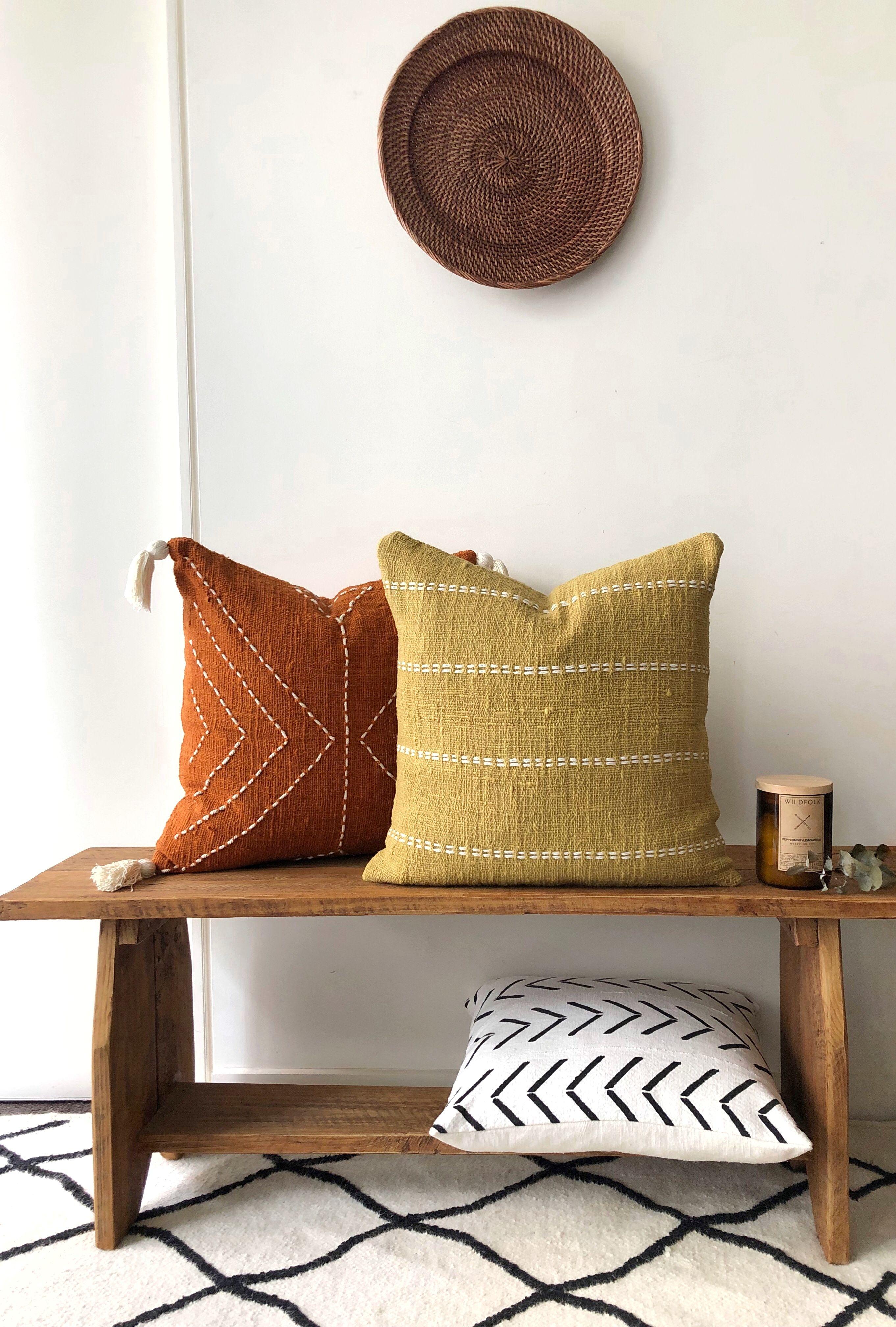 "Mustard Boho Pillow. Organic Natural Raw Cotton Hand-dyed mustard colour with stitch finish. 50x50 (20"") Australia cushions. Home Decor"