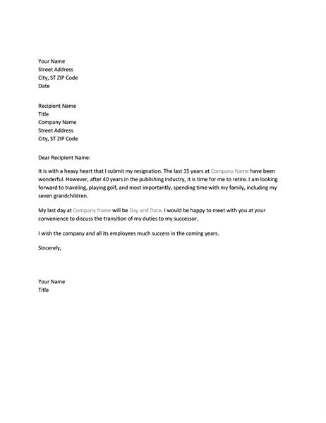 Retirement Resignation Letter Sample