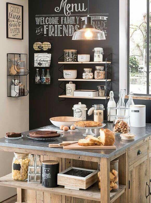 Parete lavagna con mensole e accessori acciaio nero | cucina ...