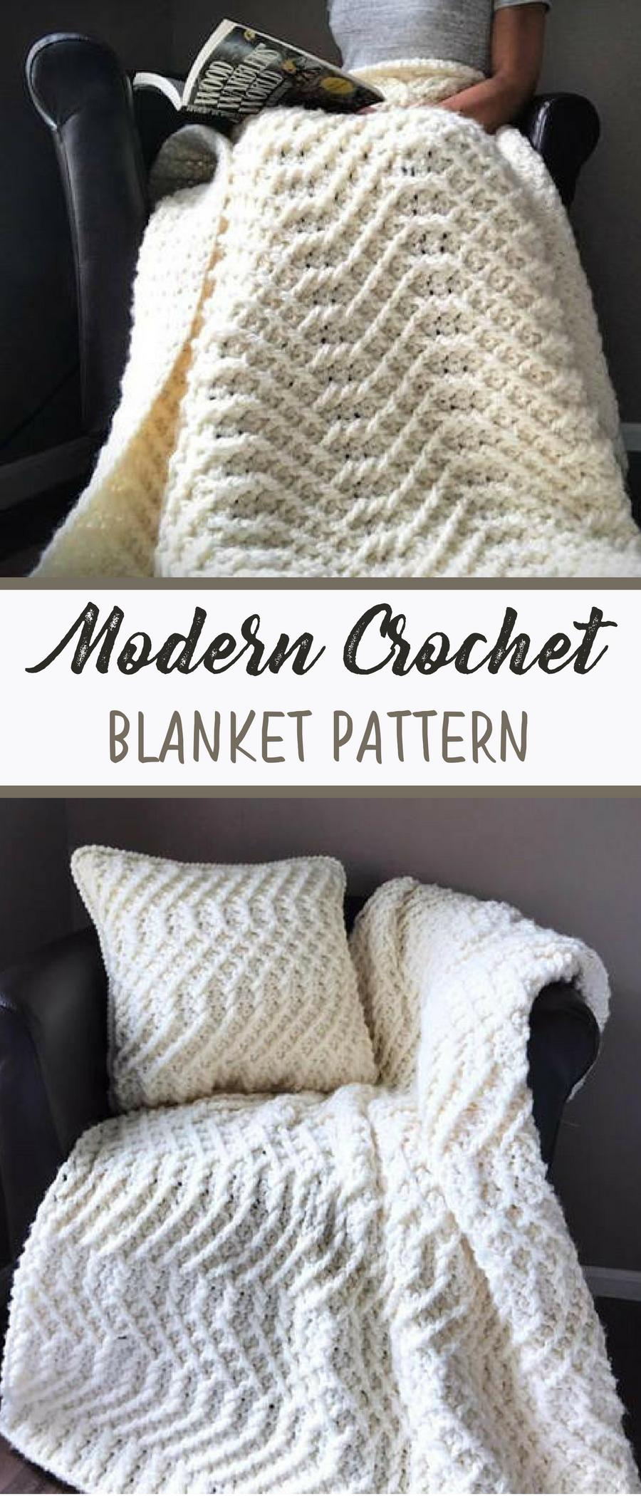 Modern Style Crochet Afghan Instant Download Crochet Pattern